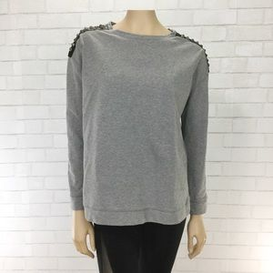 Vince Camuto Gray Studded Shoulder Sweatshirt Two